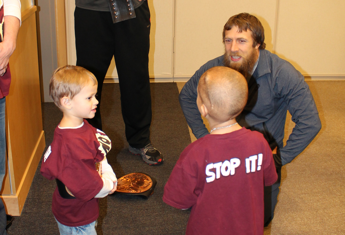 """WWE star Daniel Bryan meets with 7-year-old Connor Michalek. Michalek is currently battling cancer. <a href=""""http://www.wpxi."""