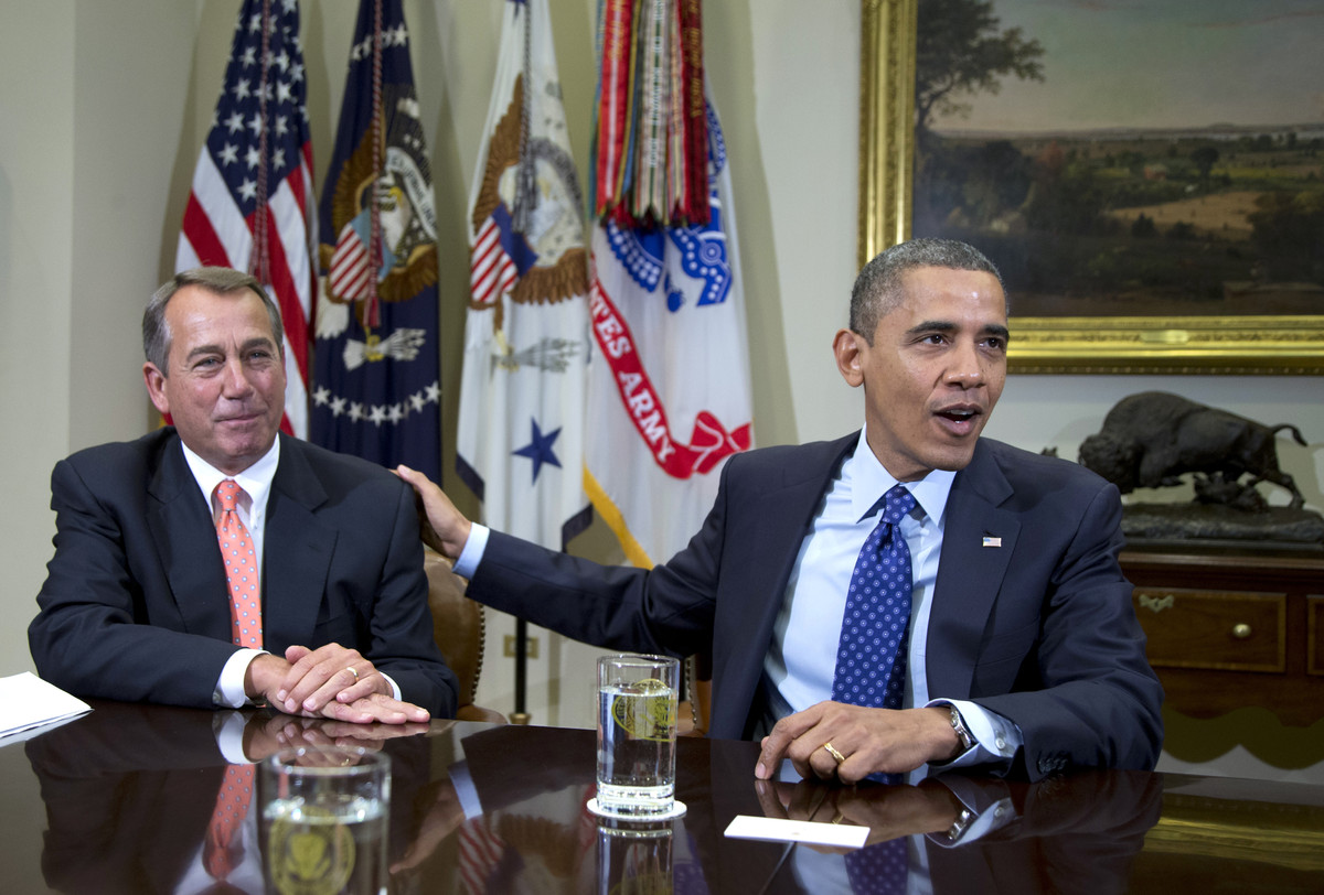 (Source: Bureau of Labor Statistics)  Pictured: House Speaker John Boehner and President Barack Obama