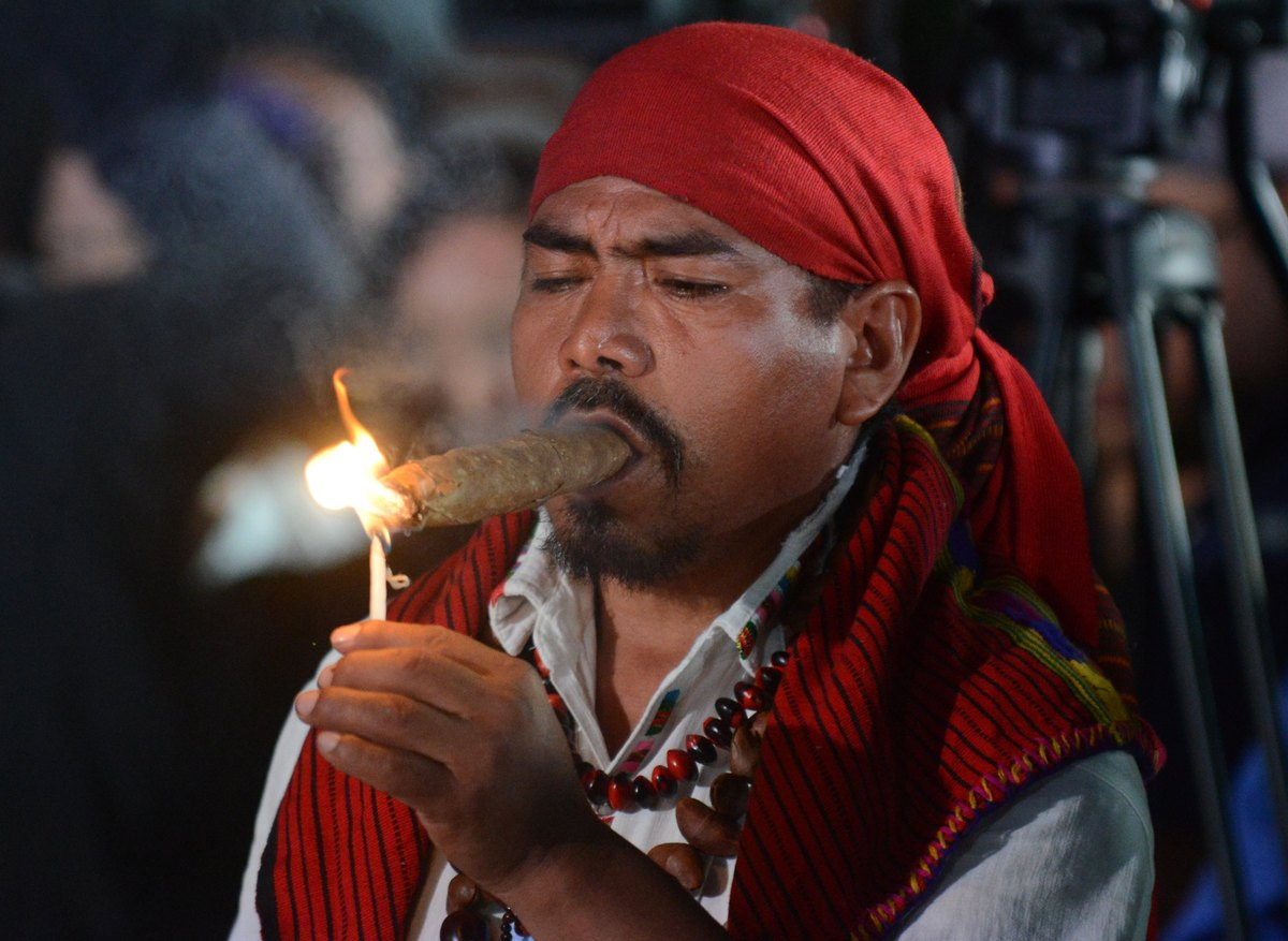 A mayan shaman takes part in a ceremony on December 21, 2012, celebrating the end of the Mayan cycle known as Bak'tun 13 and
