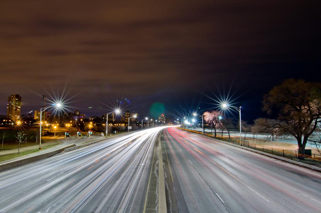 """January 7, 2012: Lake Shore Drive at 2 a.m.  <em>Photo by Rares M. Dutu <a href=""""http://www.flickr.com/photos/raresmdutu/6654"""