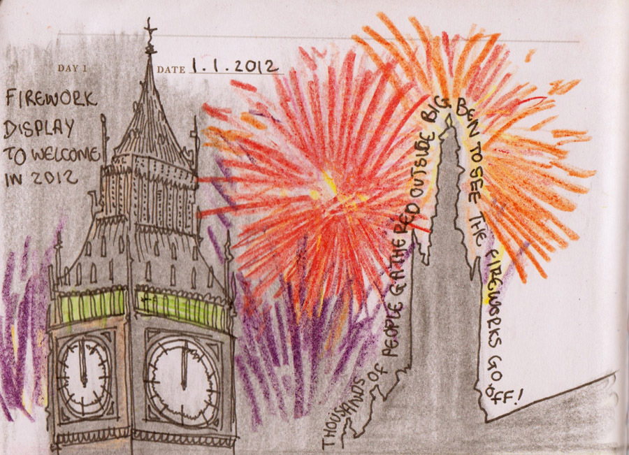 """01/01/12: Welcoming in the New Year, fireworks at Big Ben, Westminster, London.  <a href=""""http://gideonsummerfield.com/sketc"""