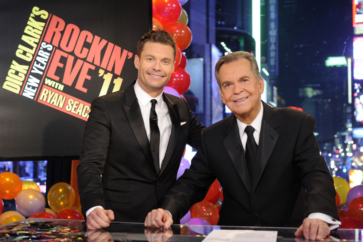 FILE - In this file image provided by ABC, Dick Clark, right, and Ryan Seacrest are shown in New York. This will be Seacrest'