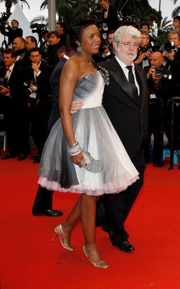 CANNES, FRANCE - MAY 25:  Director and Producer George Lucas and wife Mellody Hobson attend the 'Cosmopolis' premiere during