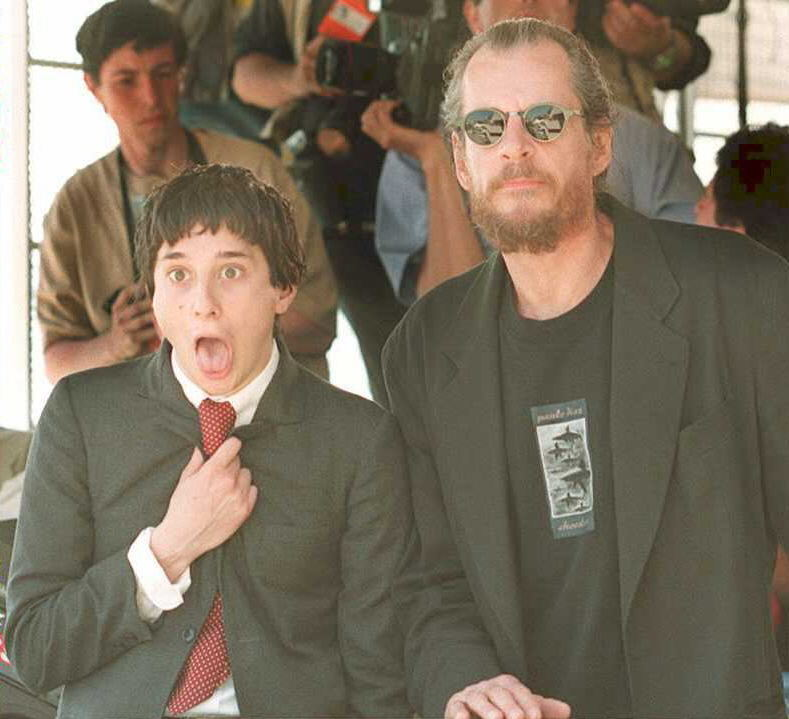 A young Harmony Korine with American director Larry Clark. The two met in a park in New York City where Korine dazzled Clark