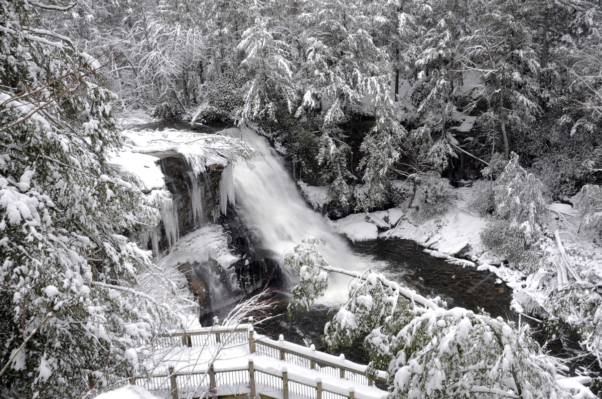 Water flows through a snow covered Muddy Creek Falls on Sunday, Dec. 30, 2012 at Swallow Falls State Park near Oakland, Md. P