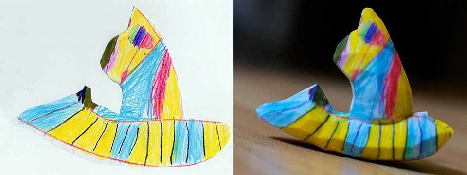 """Crayon Creatures uses children's drawings to create 3-D printed sculptures. <a href=""""http://crayoncreatures.com/"""">CrayonCreat"""