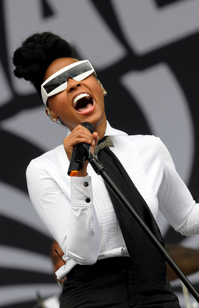 LONDON, ENGLAND - JULY 02:  Janelle Monae performs live on stage during the second day of the Wireless Festival at Hyde Park