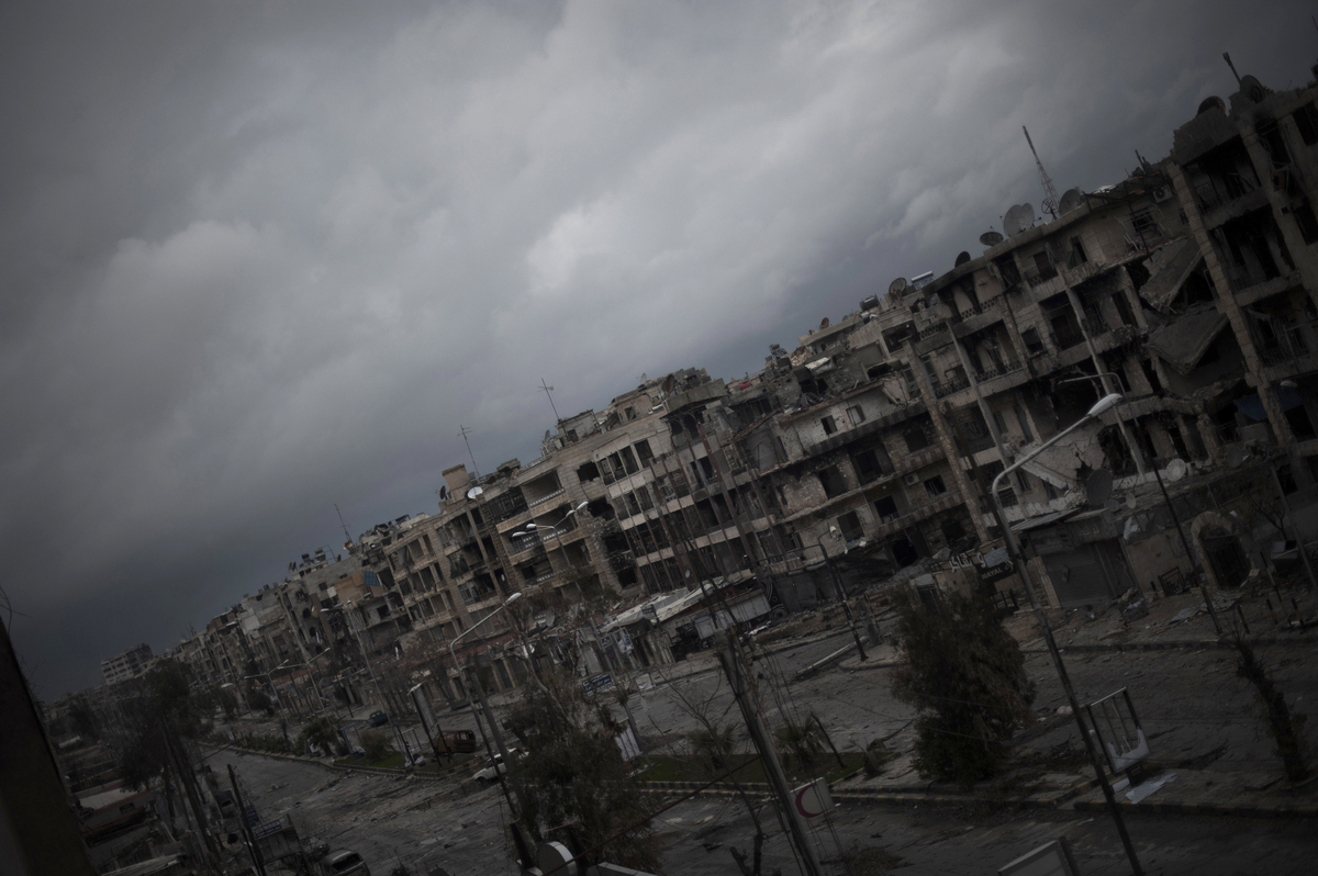 A view of the neighborhood of Saif al-Dawlah in the city of Aleppo seen on January 6, 2013.  Syria's embattled President Bash