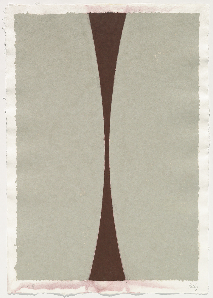 Ellsworth Kelly Colored Paper Image XI (Gray Curves with Brown), 1976 colored and pressed paper pulp sheet (irregular): 117.4