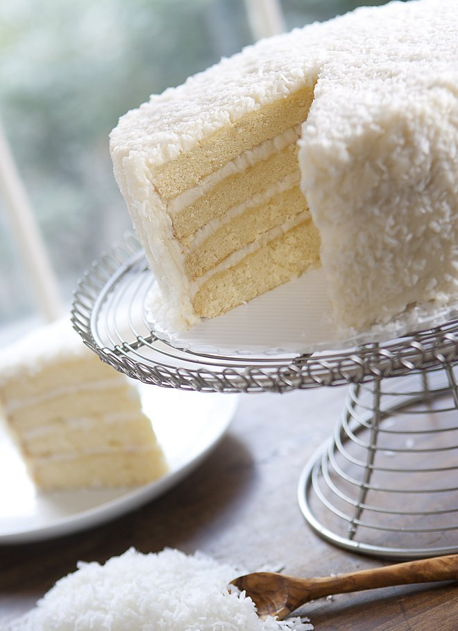 "Daisy's<a href=""http://www.ilovedaisycakes.com/product.php?id=4""> Coconut Cake </a>with fresh coconut and coconut milk."