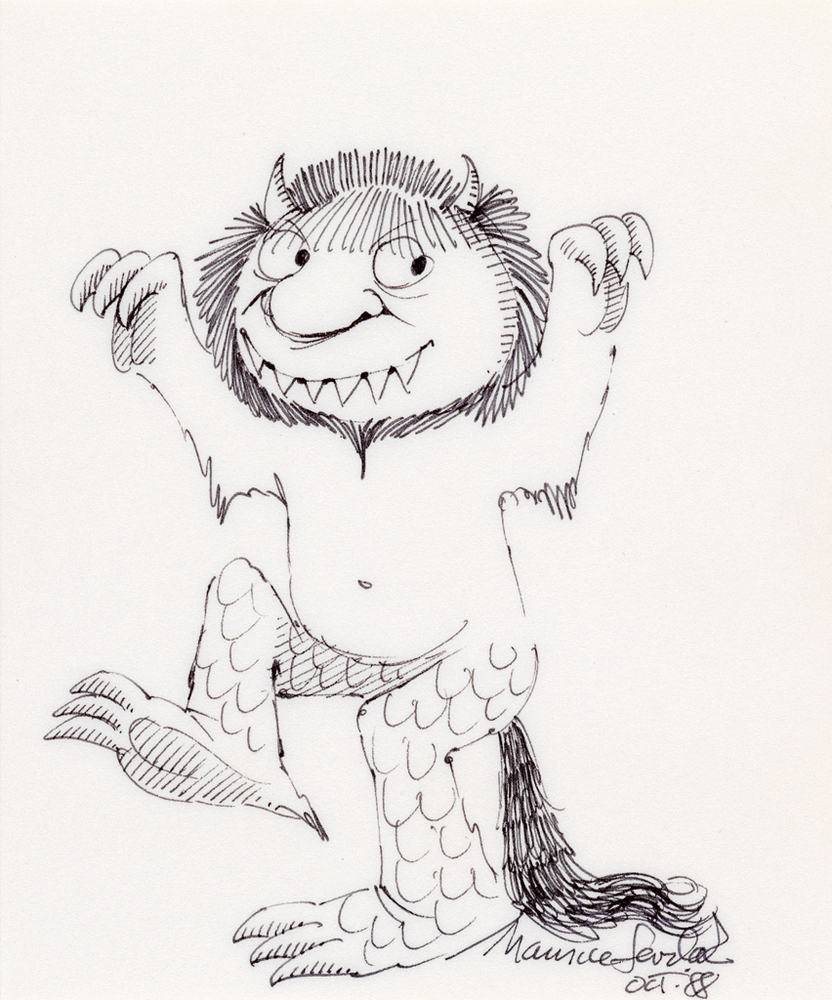 Maurice Sendak, Where the Wild Things Are, 25th Anniversary Edition, with an original ink drawing, New York, 1988. Estimate $