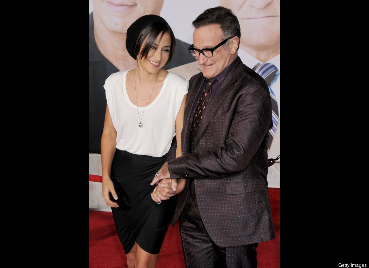 """One, two, three... aww! Robin Williams keeps a close eye on daughter Zelda Williams at the """"Old Dogs"""" Los Angeles premiere in"""