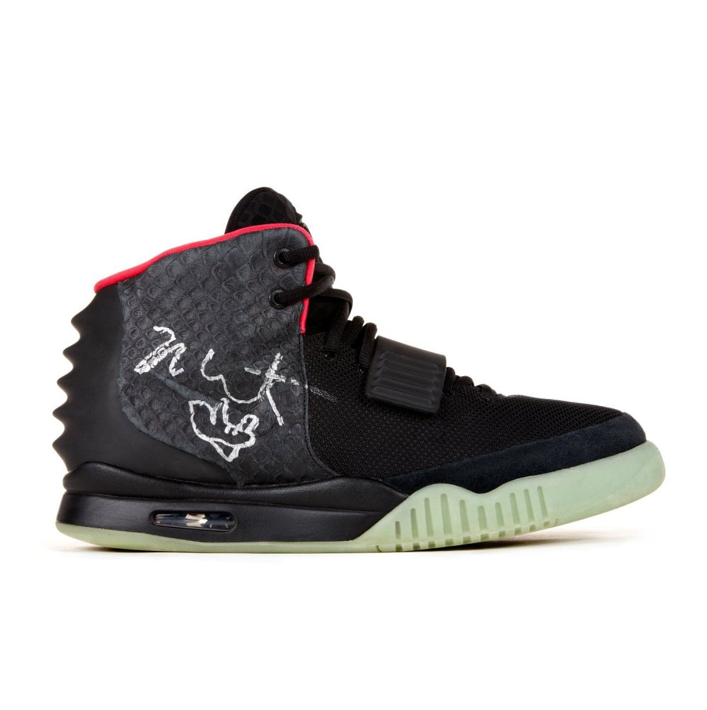 One-of-a-kind Nike Air Yeezy II Sneaker designed, worn and signed by Kanye West.  The limited-edition Yeezy II is the secon