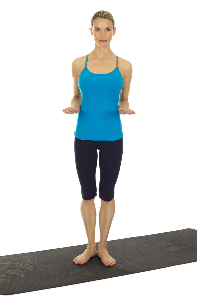 <em>Tones triceps, shoulders, back and abs.</em>  Stand tall with heels together, toes slightly turned out in a Pilates V sta