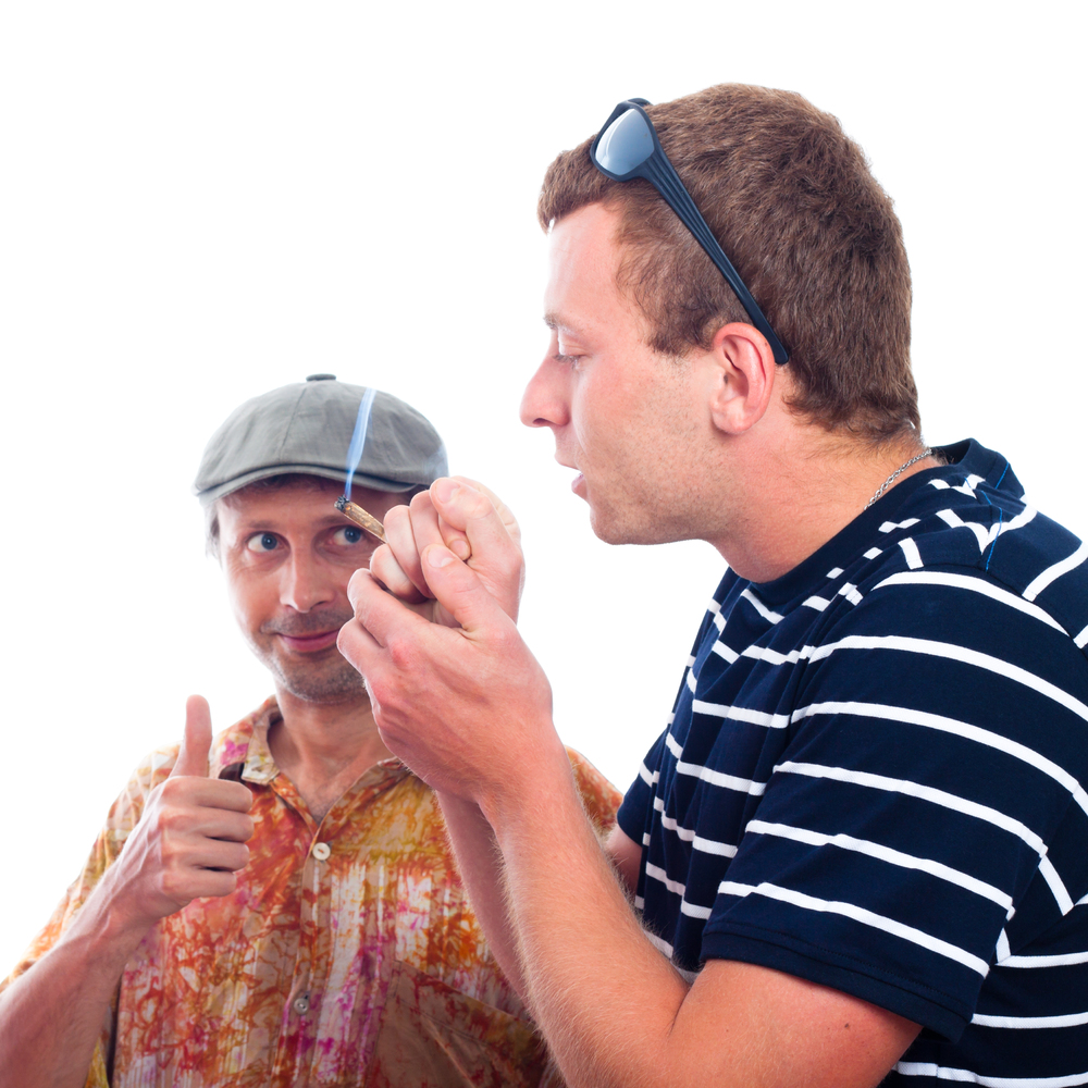 Because all stoners have a friend who simultaneously wears tie-dyed shirts and newsie caps and only communicates via thumbs-u