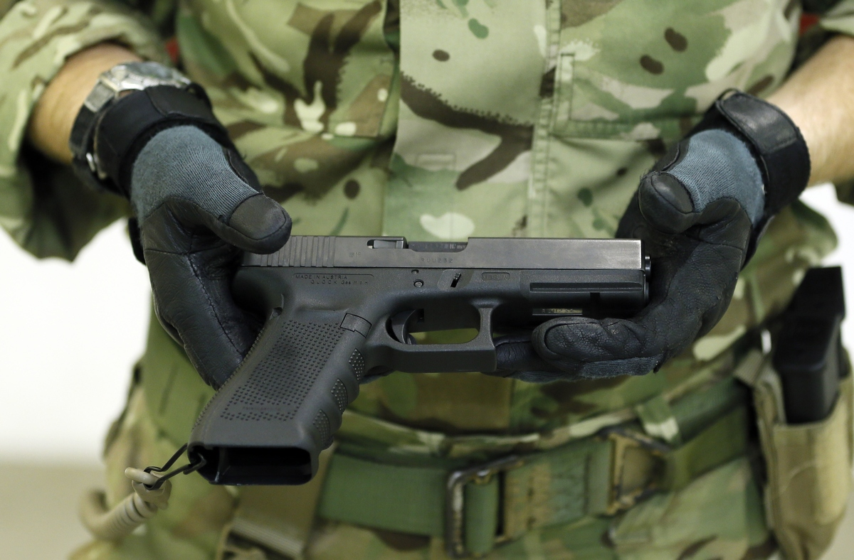 A Glock 17 Gen 4 pistol is presented during a media opportunity at the Royal Artillery Barracks in London, Wednesday, Jan. 9,