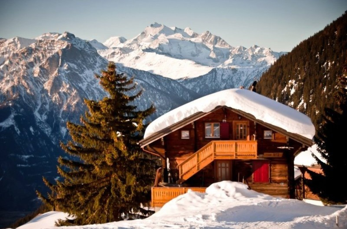 A typical wooden chalet in Riederalp, a cozy resort with only 200 full-time inhabitants.  Photo: © Mark Sissons