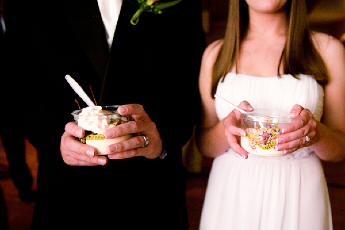 If you and your fiancé/e love going on ice cream dates, think about creating a make your own sundae bar for your guests compl