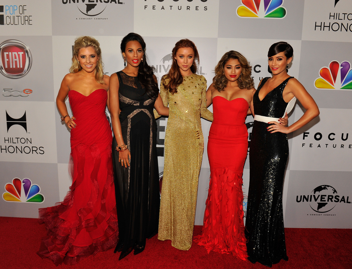 BEVERLY HILLS, CA - JANUARY 13:  Singers Mollie King, Rochelle Humes, Una Healy, Vanessa White, Frankie Sandford of Chasing t