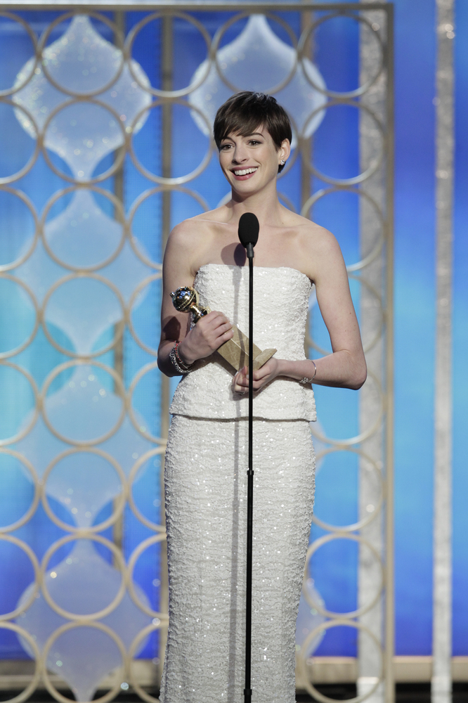 BEVERLY HILLS, CA - JANUARY 13: In this handout photo provided by NBCUniversal,  Actress Anne Hathaway accepts the Best Suppo