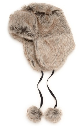 """Furry hat, <a href=""""http://www.frenchconnection.com/"""" target=""""_hplink""""><strong>French Connection, £24.</strong></a>"""