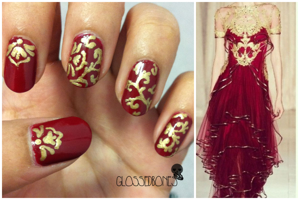 """This mani was inspired by a gorgeous Marchesa dress from their Spring/ Summer 2013 collection. I used China Glaze China Roug"