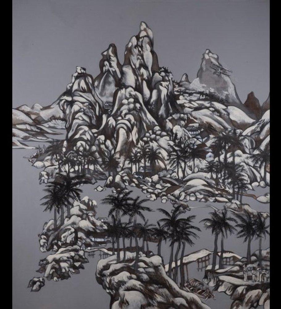 "Title – Birthday on the Island ""Onomástico en el peñón"" Date - 2012 Size:  72"" x 60""  Medium:  Charcoal, ink &  Acrylic"