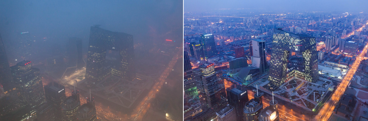 This combination of photos shows (L) the Beijing skyline during severe pollution on January 14, 2013, and the same view (R) t