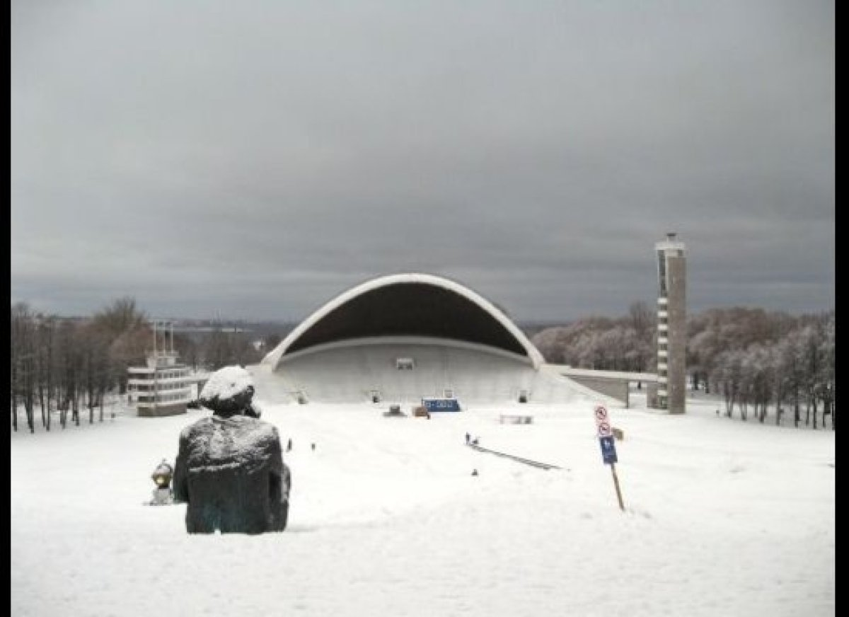 """In winter time Lauluväljak turns into an entertainment park. Children and youngsters practice their snowboard skills here, s"