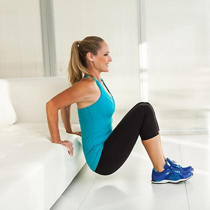 The padded (yet still sturdy) edge of your couch makes the perfect tool for assisted triceps dips. You can cushion your wrist