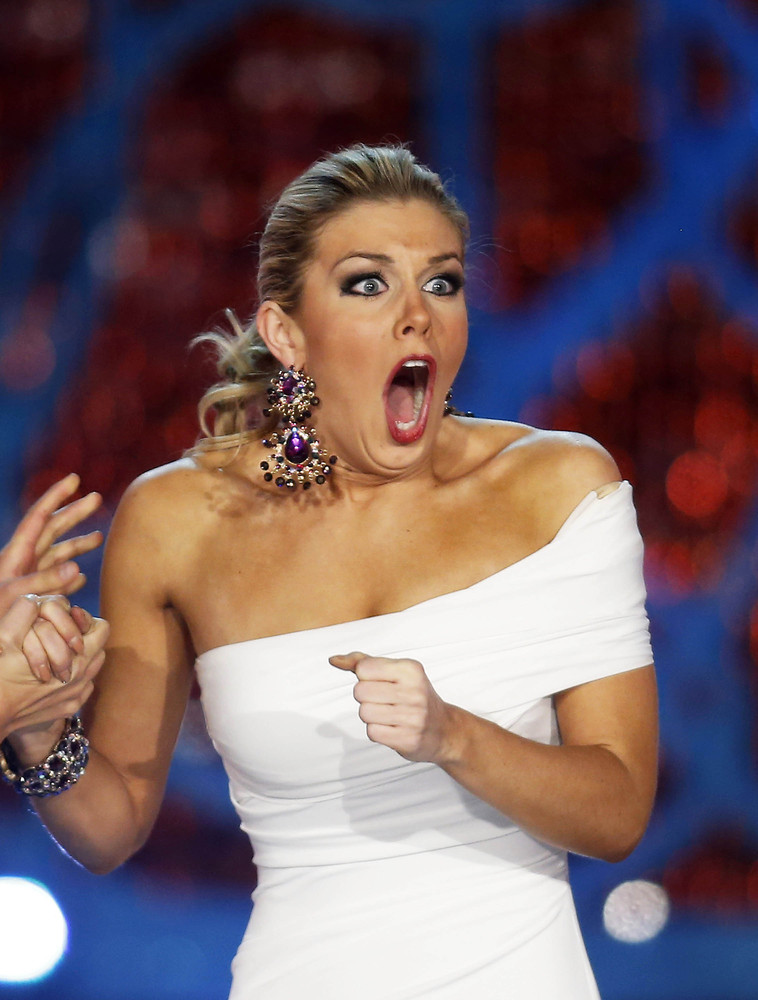 Miss New York Mallory Hytes Hagan reacts as she is announced Miss America 2013 on Saturday, Jan. 12, 2013, in Las Vegas. (Isa