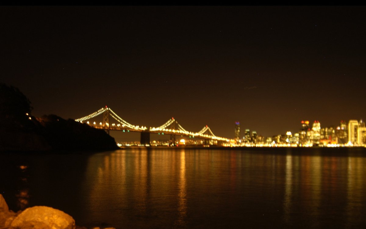 """You can't really see them here, but crewmen are at work installing LED lights for <a href=""""http://thebaylights.org/"""" target="""""""