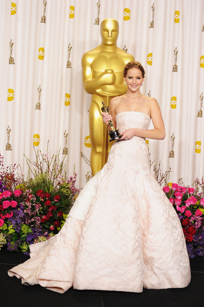 HOLLYWOOD, CA - FEBRUARY 24:  Actress Jennifer Lawrence poses in the press room during the Oscars at the Loews Hollywood Hote
