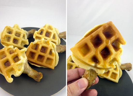 """<strong>Get the <a href=""""http://dudefoods.com/chicken-waffle-wings/"""">Chicken and Waffle Wings recipe</a> by DudeFoods</strong"""