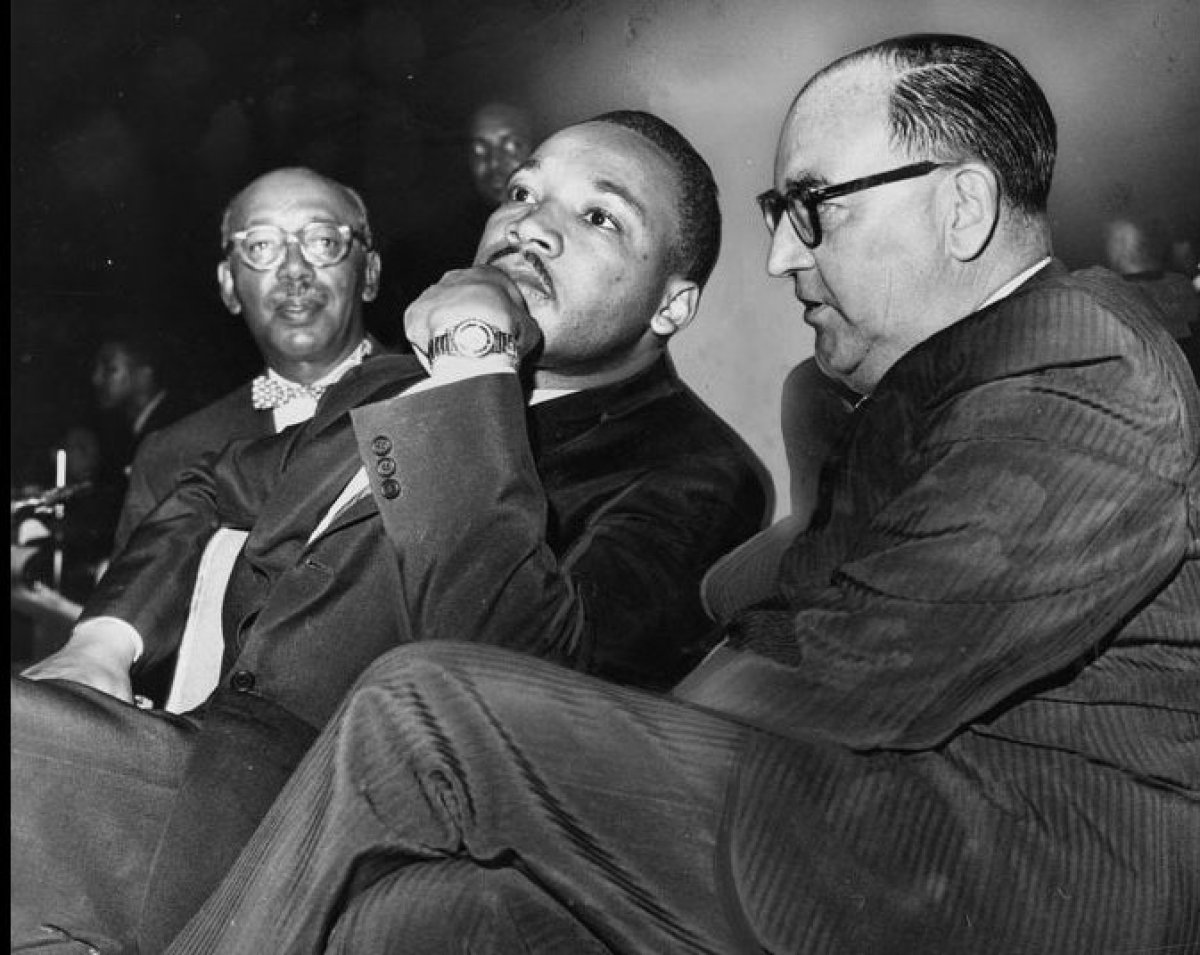 Rev. Dr. Martin Luther King and Governor Edmund G. Brown during a Freedom Rally at the Los Angeles Sports Arena on June 18, 1