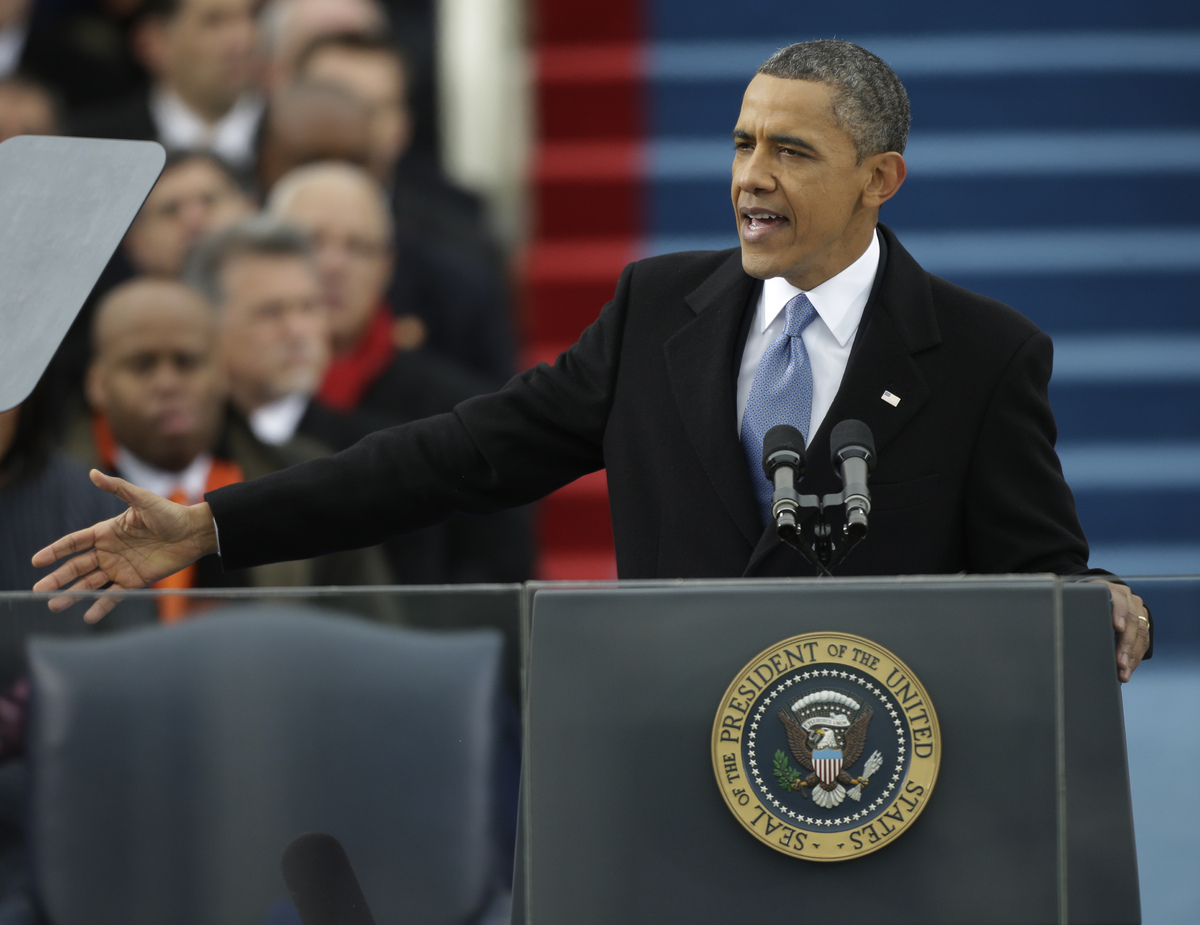 President Barack Obama speaks at his ceremonial swearing-in at the U.S. Capitol during the 57th Presidential Inauguration in