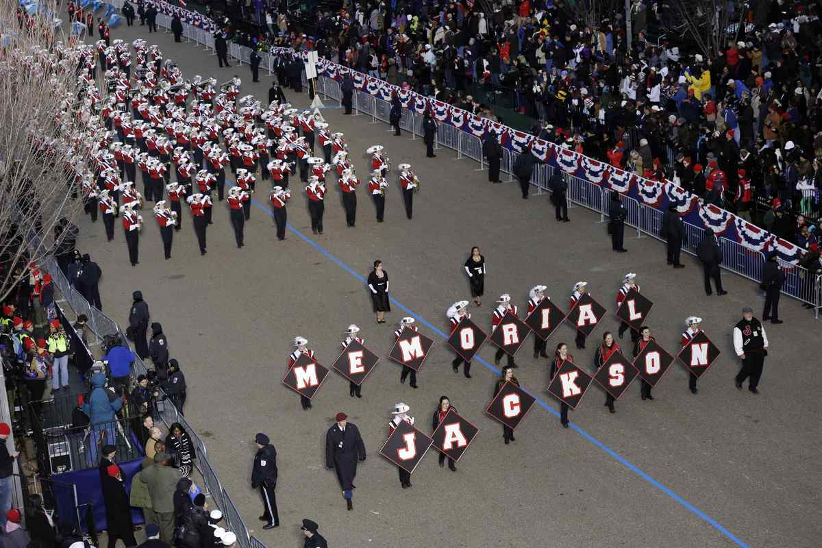 New Jersey's Jackson Memorial High School marching band perform while passing the presidential box and the White House during