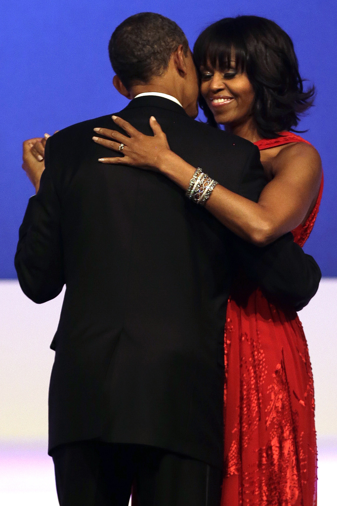 President Barack Obama and first lady Michelle Obama dance together at the Commander-in-Chief Inaugural Ball in Washington, a