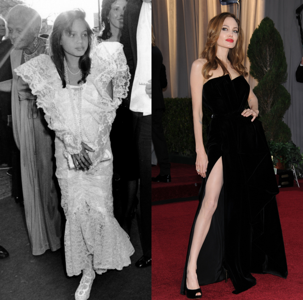 Left: 1986; Right: 2012, in Versace.