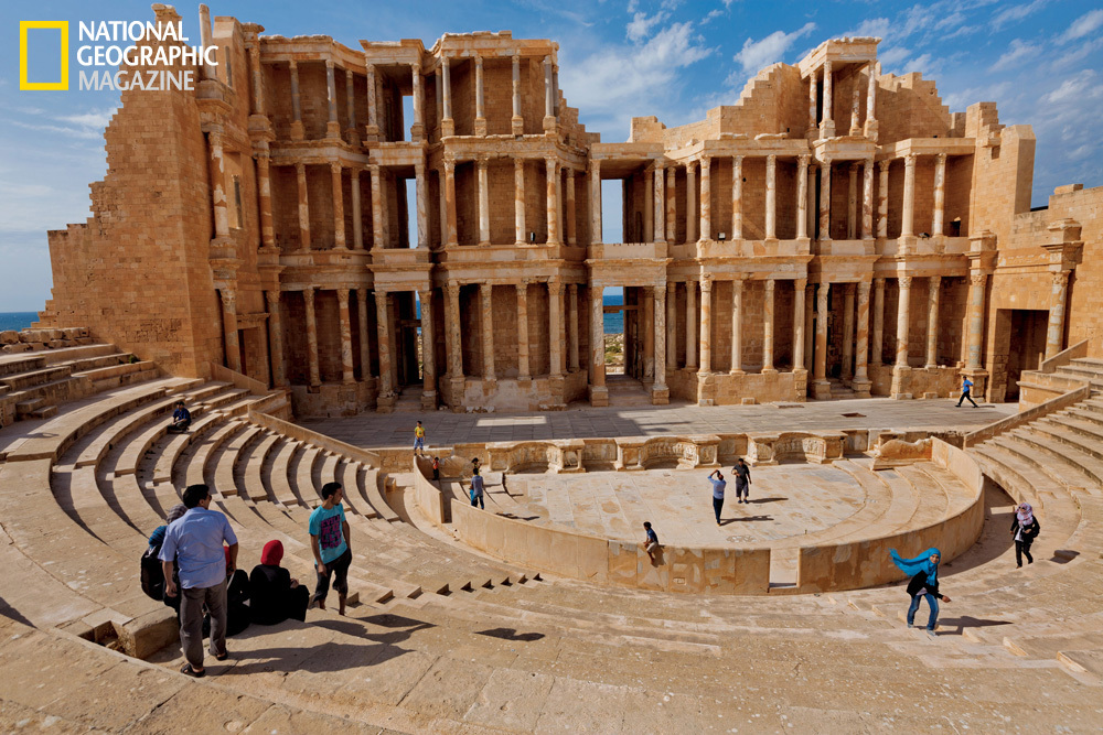 Libyans enjoy a visit to Sabratah's ancient Roman theater, one of Africa's largest. (George Steinmetz/National Geographic)