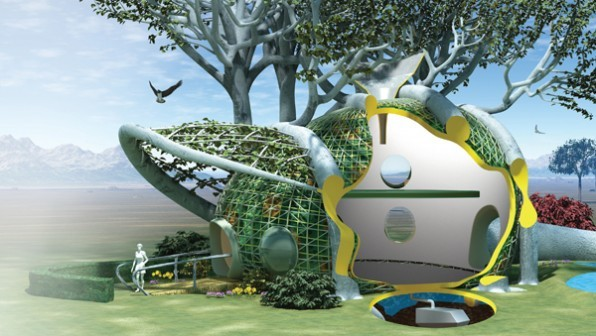 In the Fab Tree Hab concept by MIT designers, prefab scaffolding is grafted onto living trees, to integrate a dwelling with t