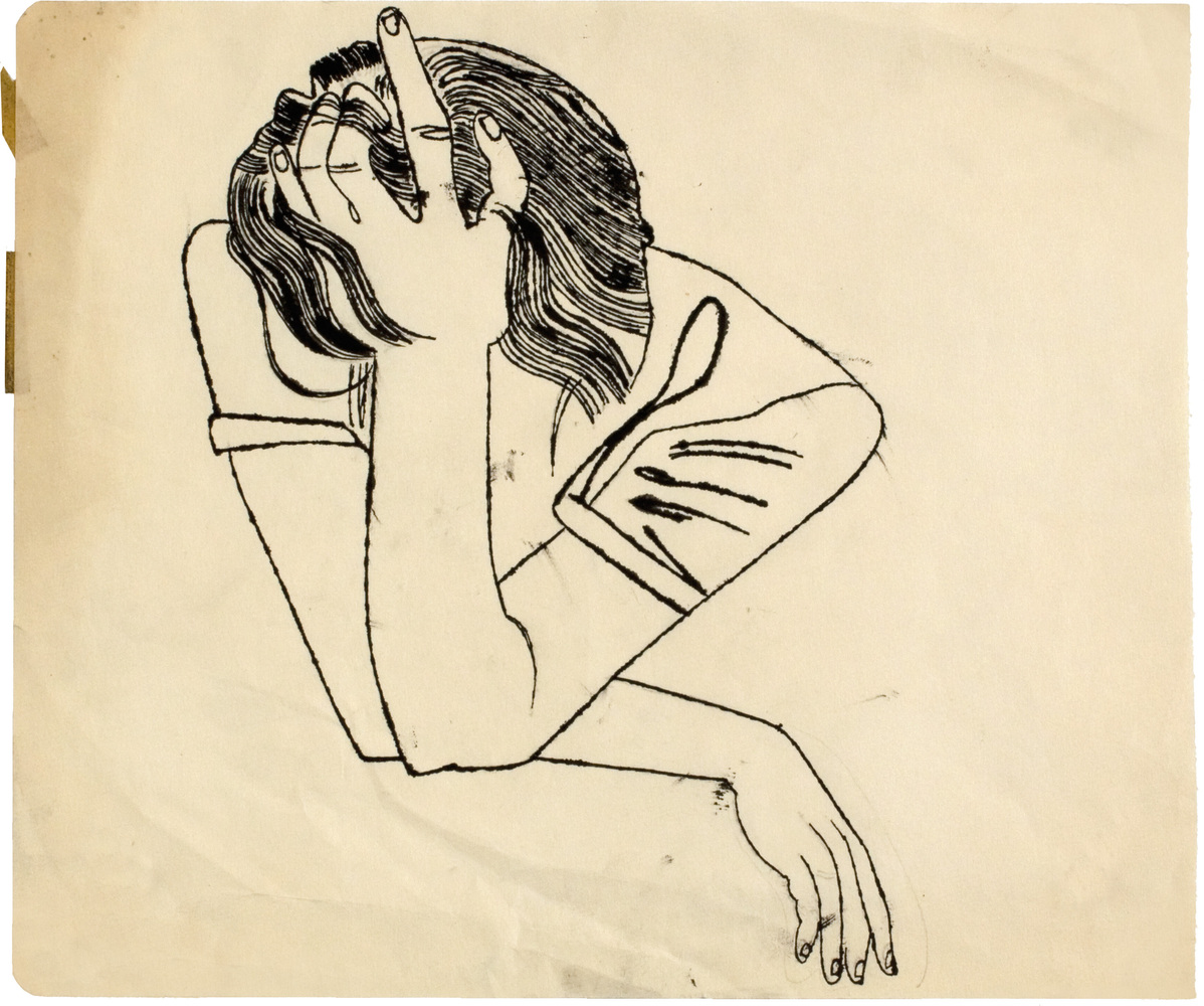 No Title (Pensive Girl Resting Head on her Hand), c. 1951 ink and graphite on paper, 35,6 x 42,3 cm. Courtesy of Daniel Blau