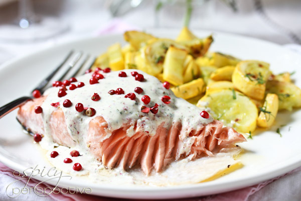 "<strong>Get the <a href=""http://www.aspicyperspective.com/2012/05/roasted-salmon-pink-peppercorn-sauce.html"">Salmon with Hors"