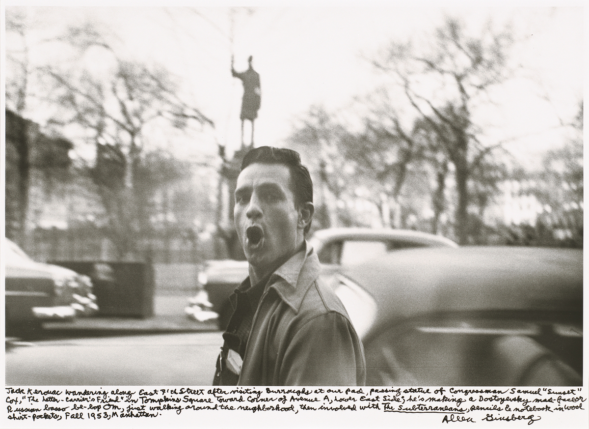 Allen Ginsberg <em>Jack Kerouac wandering along East 7th Street after visiting Burroughs at our pad, passing statue of Congre
