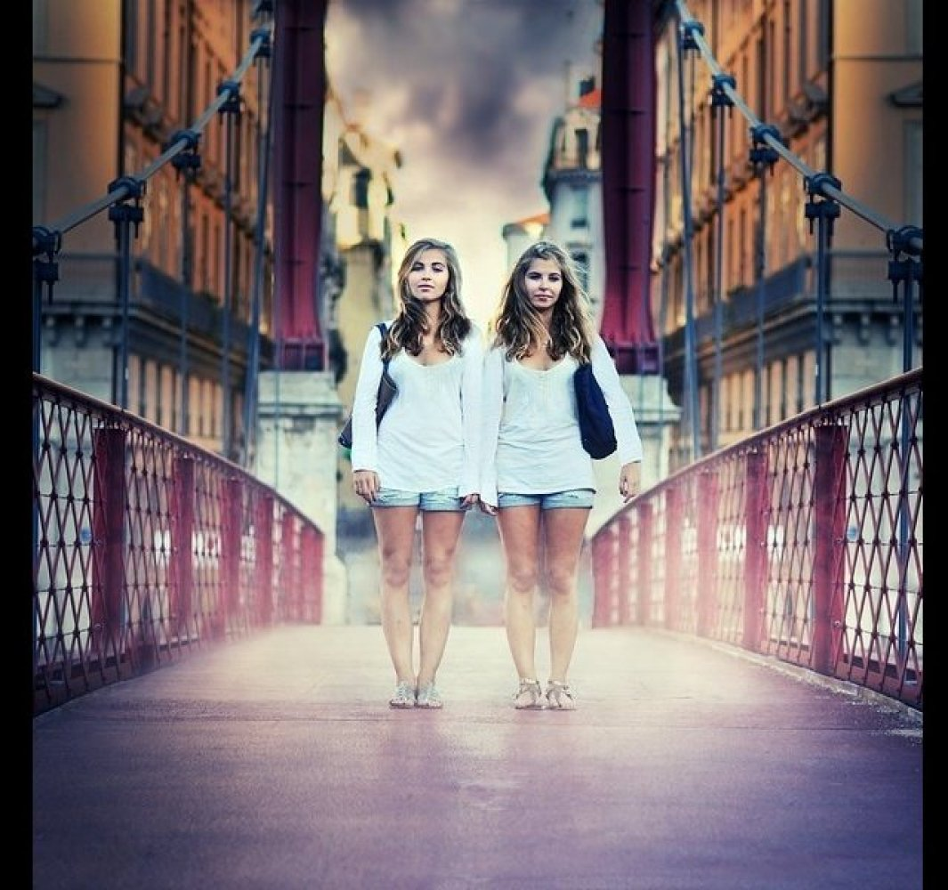 These twins have their own style, which you can see even though they are dressed the same.