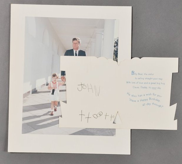 """<strong>Bid estimate:</strong> $2,500 - $5,000  Birthday card from John, jr. to his father on his 46th birthday, signed """"John"""