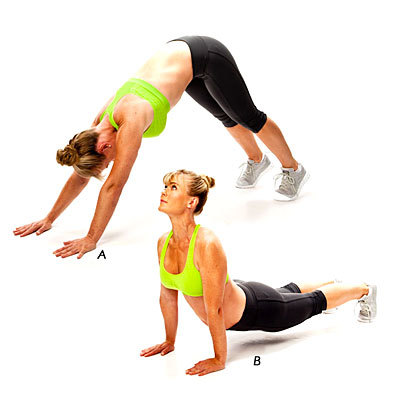<strong>Works:</strong> hips, lower back, shoulders  Begin in Downward Dog with head down and hips high. Maintain hand and fe