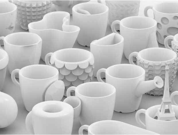 "For <a href=""http://cunicode.com"">Cunicode's</a> ""One Cup a Day"" project, one 3D printed coffee cup was created each day for"