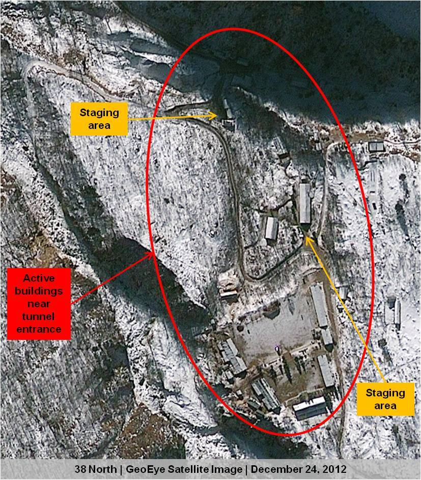 This Dec. 24, 2012 satellite image provided by GeoEye shows North Korea's Punggye-ri nuclear test facility. This and other re