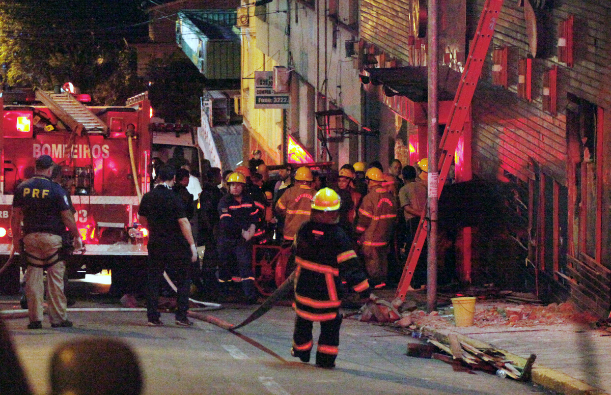 Firefighters try to put out a fire at a nightclub in Santa Maria in southern Brazil on January 27, 2012. The death toll climb